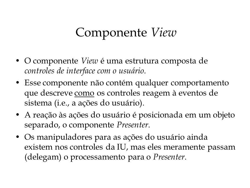 ICadastroDepartamentoView (cont.) Note que ICadastroDepartamentoView não possui detalhe algum acerca da apresentação específica (e.g.