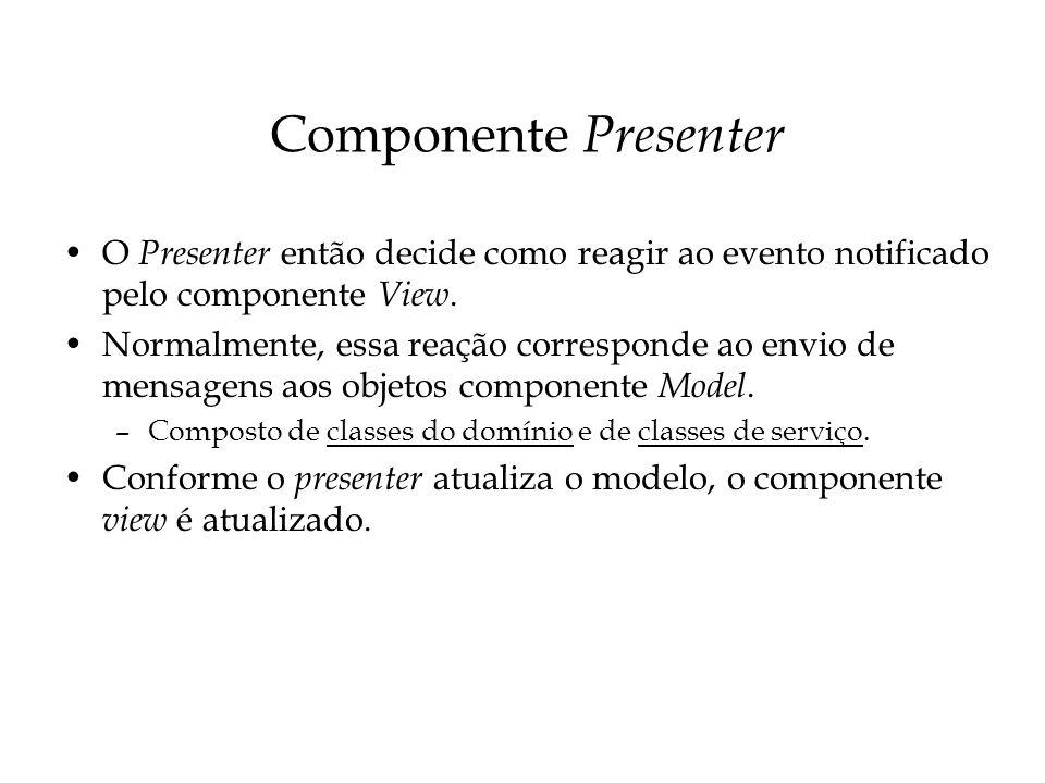 Componente Presenter O Presenter então decide como reagir ao evento notificado pelo componente View. Normalmente, essa reação corresponde ao envio de