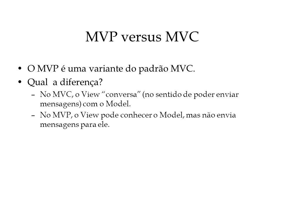 MVP versus MVC O MVP é uma variante do padrão MVC. Qual a diferença? –No MVC, o View conversa (no sentido de poder enviar mensagens) com o Model. –No