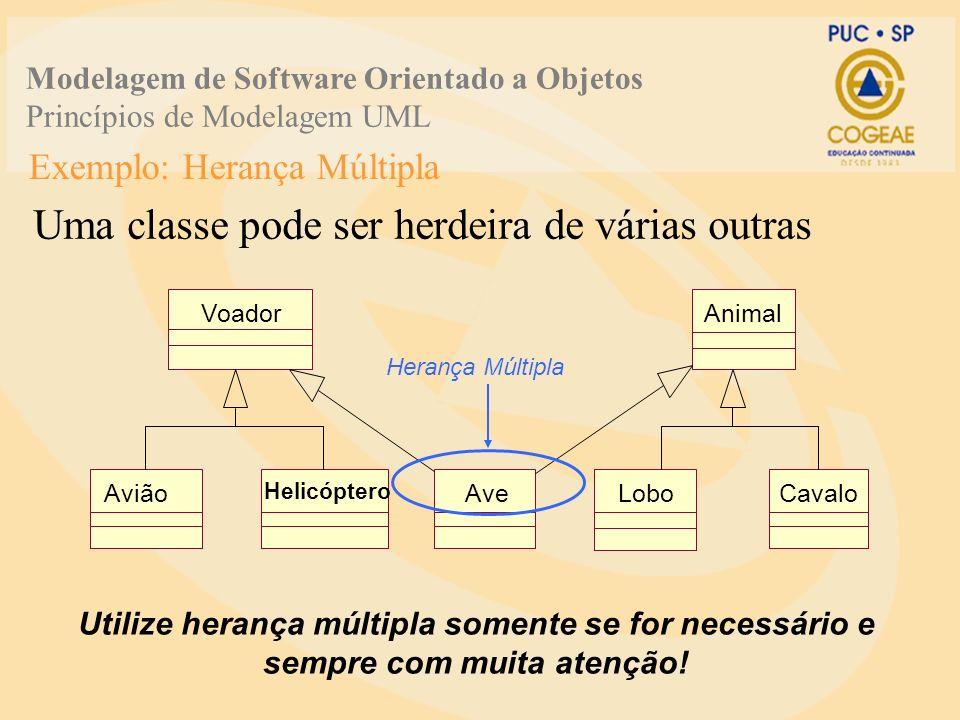 Exemplo: Herança Múltipla Uma classe pode ser herdeira de várias outras Utilize herança múltipla somente se for necessário e sempre com muita atenção!