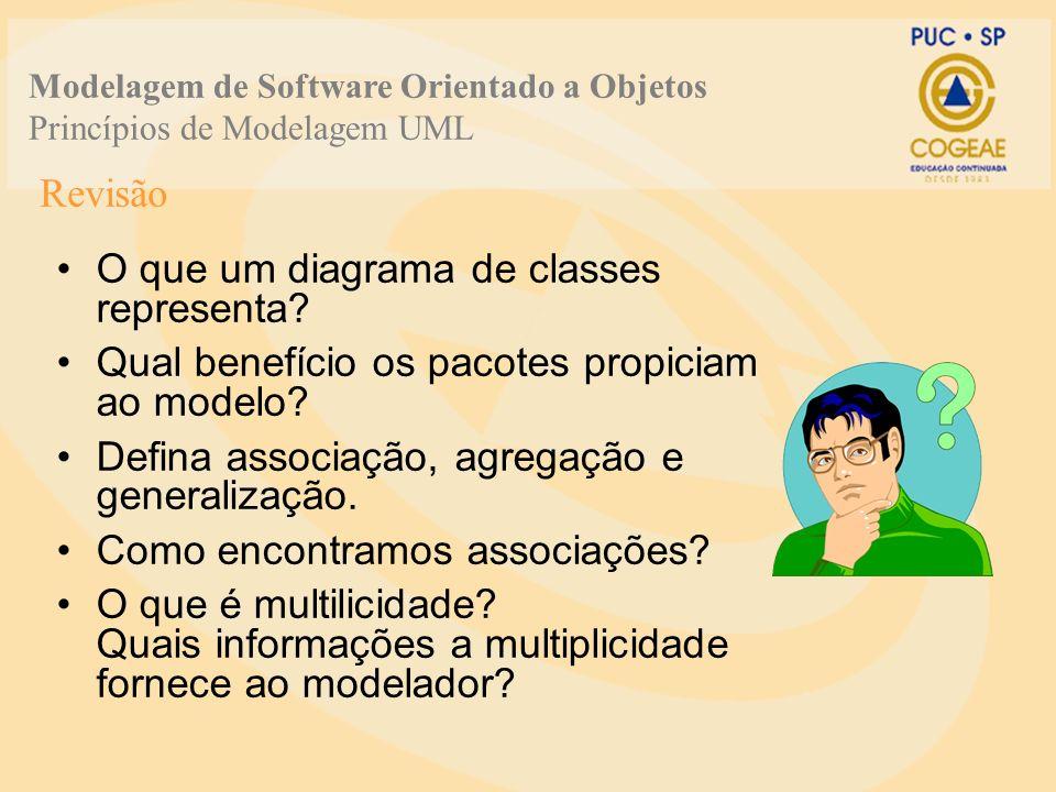 O que um diagrama de classes representa? Qual benefício os pacotes propiciam ao modelo? Defina associação, agregação e generalização. Como encontramos