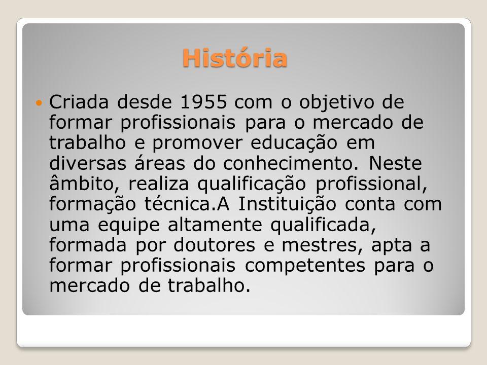 História Criada desde 1955 com o objetivo de formar profissionais para o mercado de trabalho e promover educação em diversas áreas do conhecimento.
