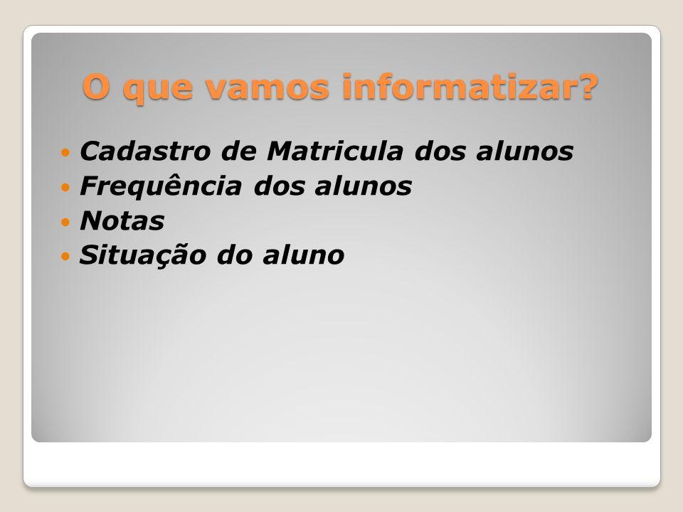 O que vamos informatizar? Cadastro de Matricula dos alunos Frequência dos alunos Notas Situação do aluno