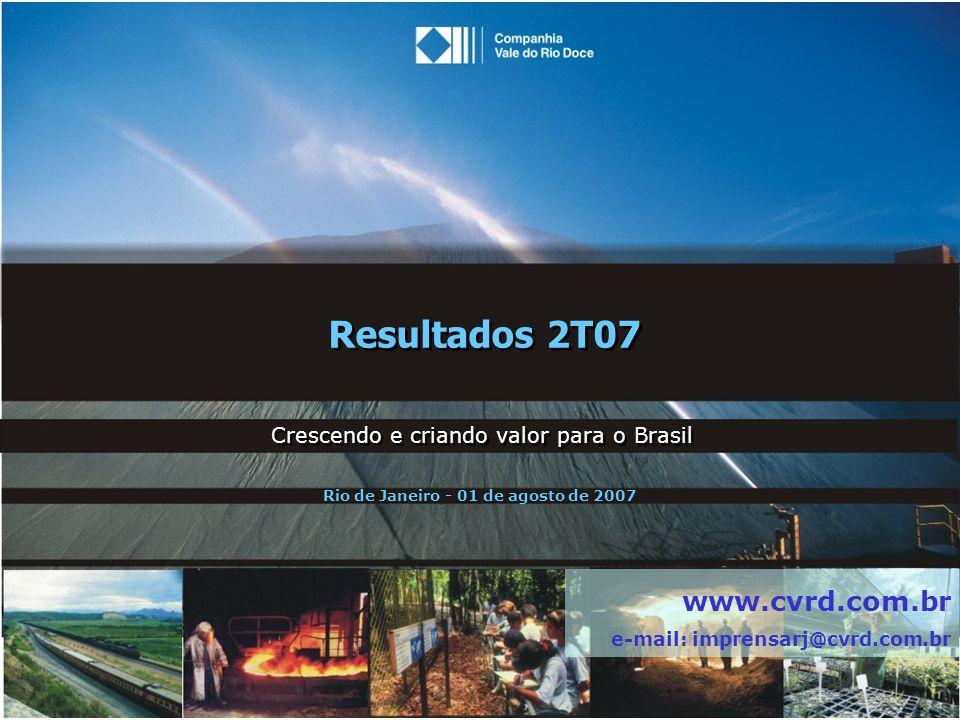 Resultados 2T07 Crescendo e criando valor para o Brasil www.cvrd.com.br e-mail: imprensarj@cvrd.com.br Rio de Janeiro - 01 de agosto de 2007