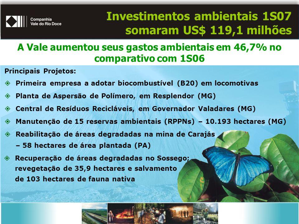 Investimentos ambientais 1S07 somaram US$ 119,1 milhões Principais Projetos: Primeira empresa a adotar biocombustível (B20) em locomotivas Planta de Aspersão de Polímero, em Resplendor (MG) Central de Resíduos Recicláveis, em Governador Valadares (MG) Manutenção de 15 reservas ambientais (RPPNs) – 10.193 hectares (MG) Reabilitação de áreas degradadas na mina de Carajás – 58 hectares de área plantada (PA) Recuperação de áreas degradadas no Sossego; revegetação de 35,9 hectares e salvamento de 103 hectares de fauna nativa A Vale aumentou seus gastos ambientais em 46,7% no comparativo com 1S06