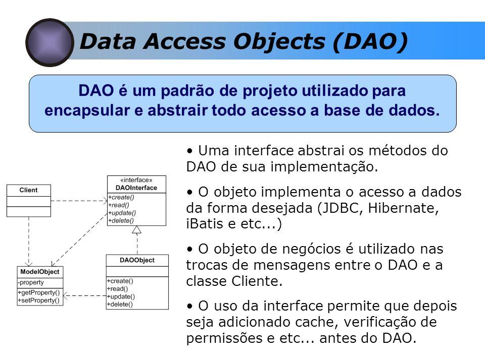Data Access Objects (DAO) DAO é um padrão de projeto utilizado para encapsular e abstrair todo acesso a base de dados.