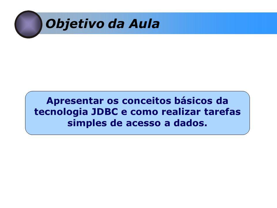 Objetivo da Aula Apresentar os conceitos básicos da tecnologia JDBC e como realizar tarefas simples de acesso a dados.
