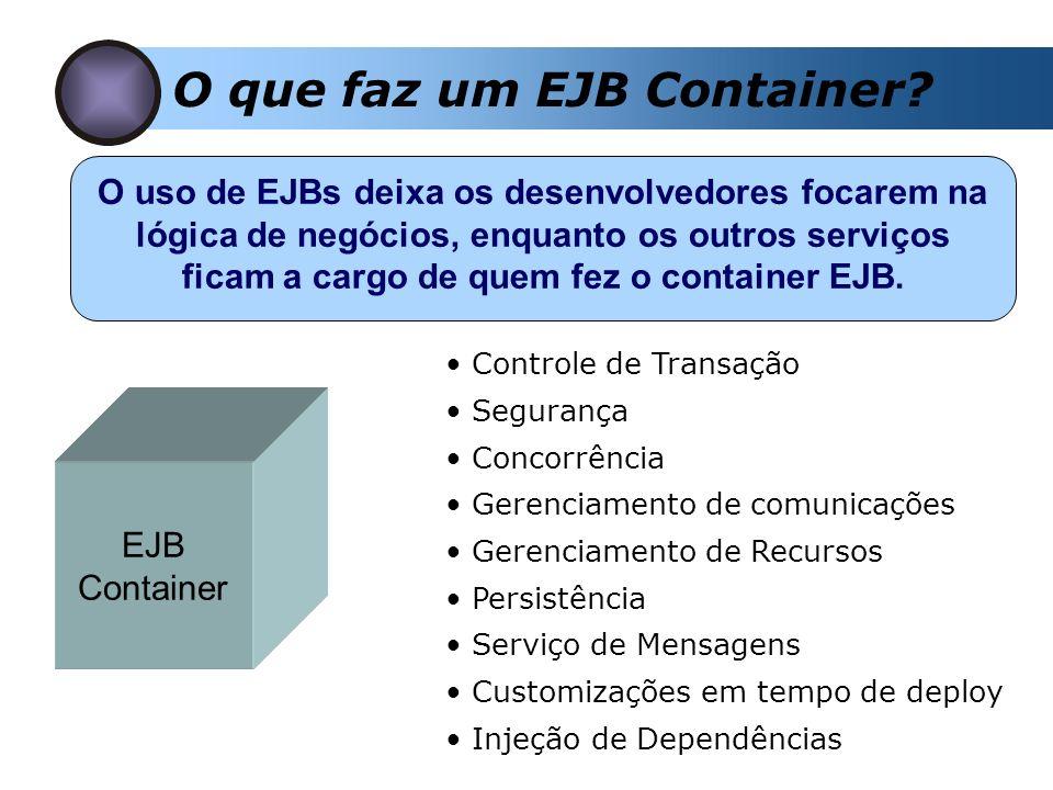 O que faz um EJB Container? O uso de EJBs deixa os desenvolvedores focarem na lógica de negócios, enquanto os outros serviços ficam a cargo de quem fe