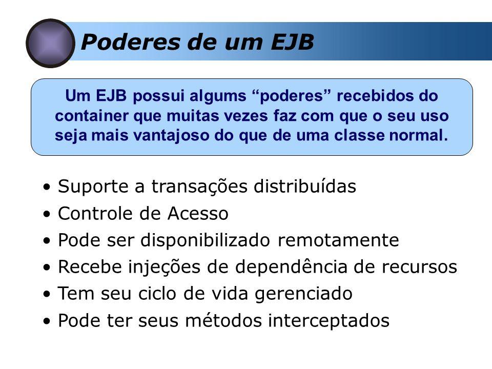 Comunicação com EJBs A comunicação é feita utilizando RMI-IIOP O retorno dos métodos devem ser: Tipos primitivos Objetos serializáveis Array de primitivos ou objetos serializáveis Objeto remoto Cliente StubSkel Remote Object