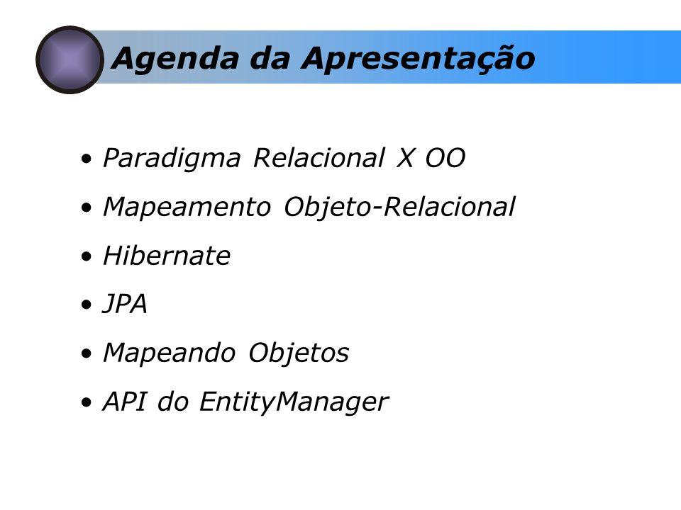 Paradigma Relacional X OO Mapeamento Objeto-Relacional Hibernate JPA Mapeando Objetos API do EntityManager Agenda da Apresentação