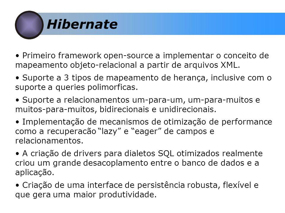 Hibernate Primeiro framework open-source a implementar o conceito de mapeamento objeto-relacional a partir de arquivos XML.