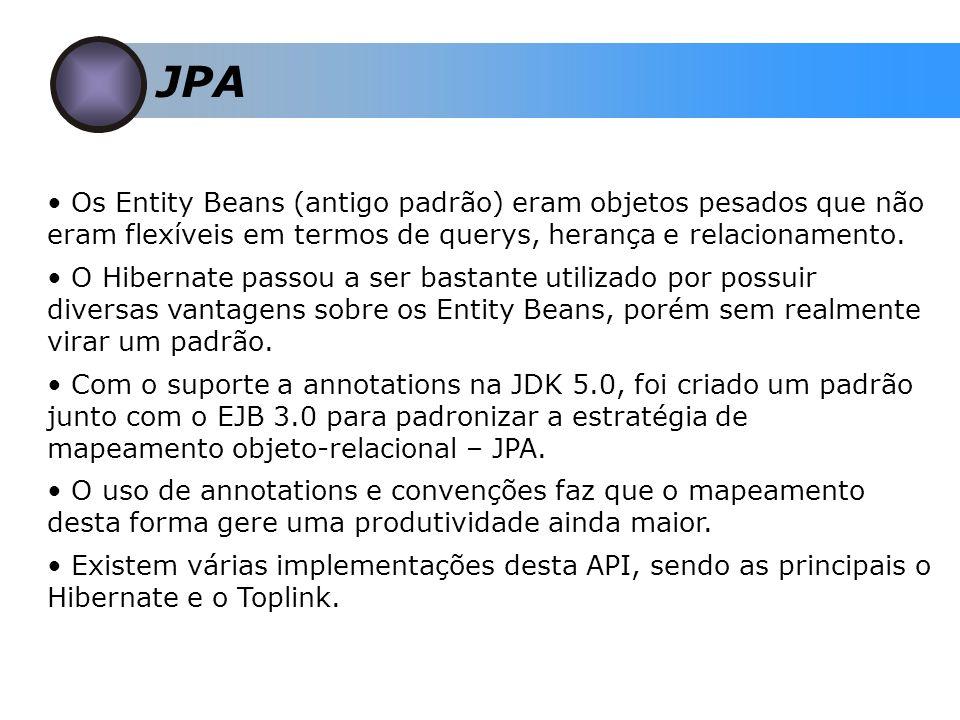 JPA Os Entity Beans (antigo padrão) eram objetos pesados que não eram flexíveis em termos de querys, herança e relacionamento.
