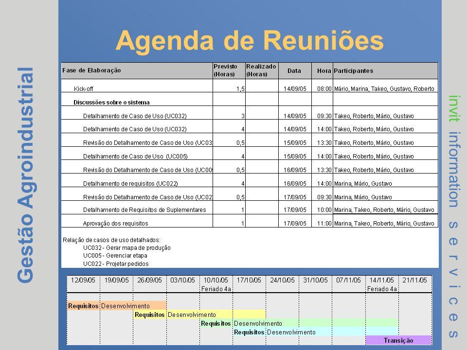 Gestão Agroindustrial invit information s e r v i c e s Agenda de Reuniões