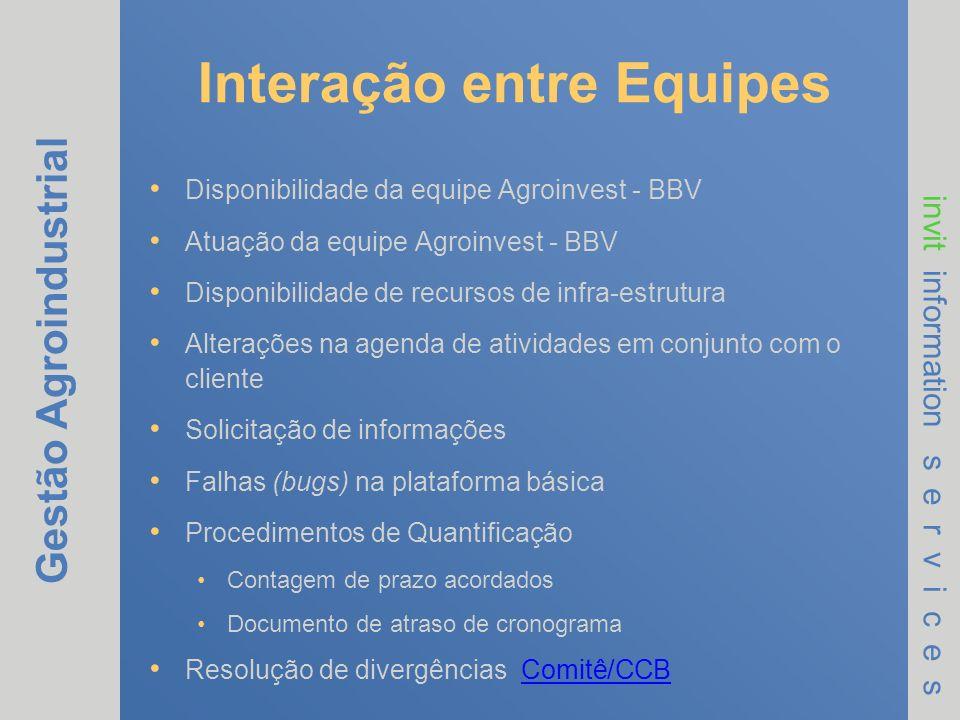 Gestão Agroindustrial invit information s e r v i c e s Interação entre Equipes Disponibilidade da equipe Agroinvest - BBV Atuação da equipe Agroinves