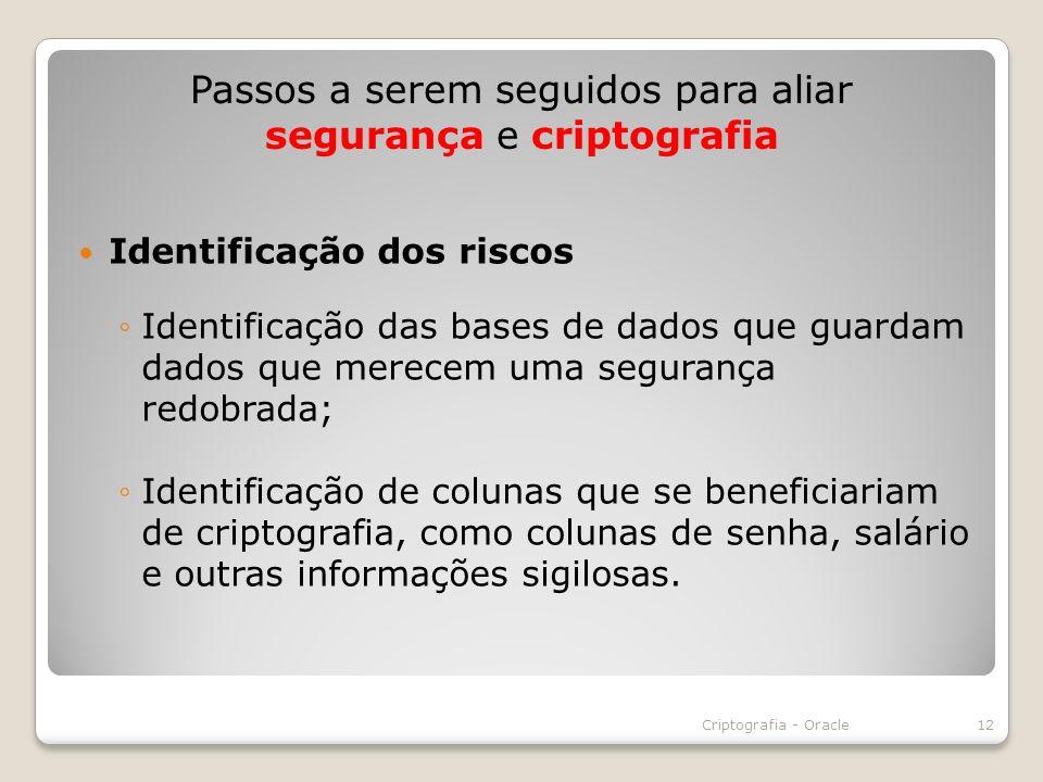 Identificação dos riscos Identificação das bases de dados que guardam dados que merecem uma segurança redobrada; Identificação de colunas que se benef