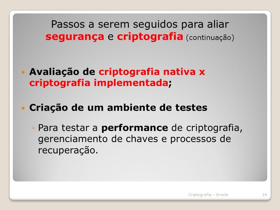 Avaliação de criptografia nativa x criptografia implementada; Criação de um ambiente de testes Para testar a performance de criptografia, gerenciament