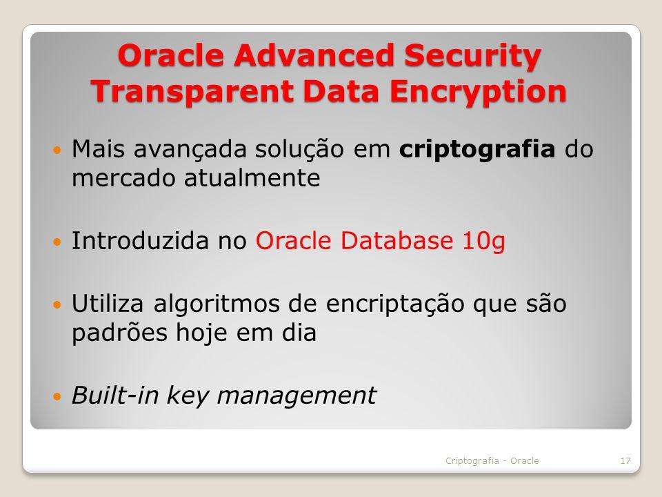 Oracle Advanced Security Transparent Data Encryption Mais avançada solução em criptografia do mercado atualmente Introduzida no Oracle Database 10g Ut