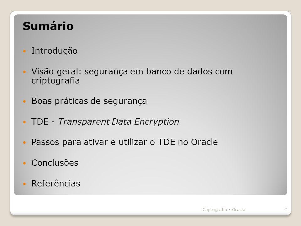 É uma ferramenta fornecida com o Oracle Advanced Security Utilizamos o TDE com esta ferramenta Ela que permite o acesso a serviços no momento do acesso Seu login pode ou não ser automático Criptografia - Oracle23 Oracle Wallet Manager