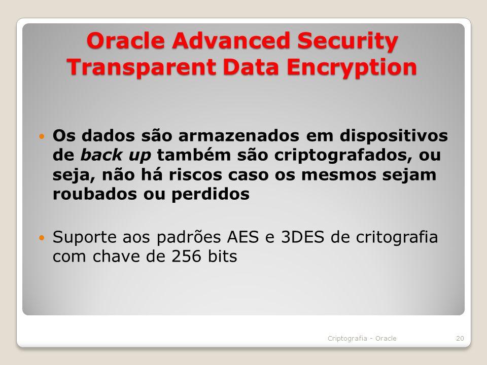 Oracle Advanced Security Transparent Data Encryption Os dados são armazenados em dispositivos de back up também são criptografados, ou seja, não há ri