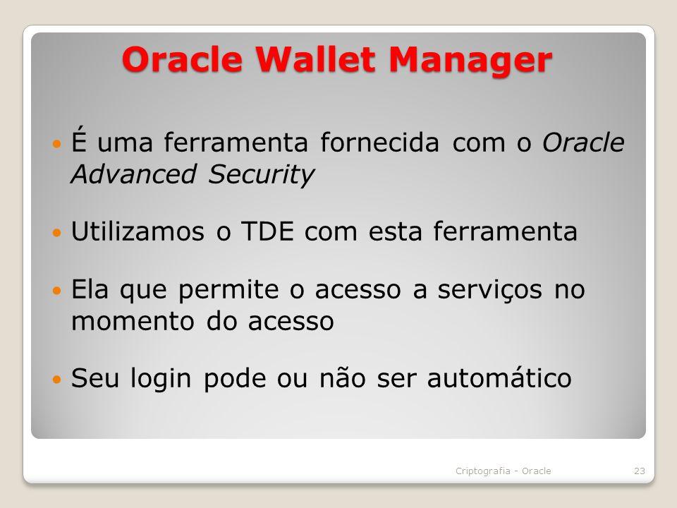 É uma ferramenta fornecida com o Oracle Advanced Security Utilizamos o TDE com esta ferramenta Ela que permite o acesso a serviços no momento do acess