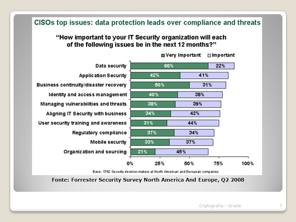 Fonte: Forrester Security Survey North America And Europe, Q2 2008 7Criptografia - Oracle