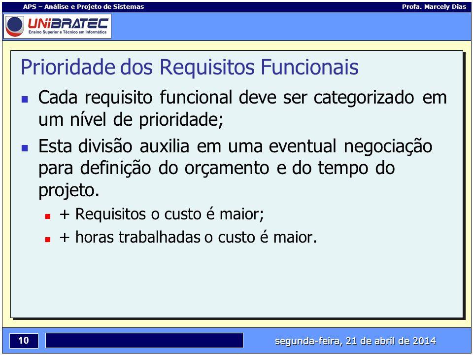 segunda-feira, 21 de abril de 2014 10 APS – Análise e Projeto de Sistemas Profa. Marcely Dias Prioridade dos Requisitos Funcionais Cada requisito func