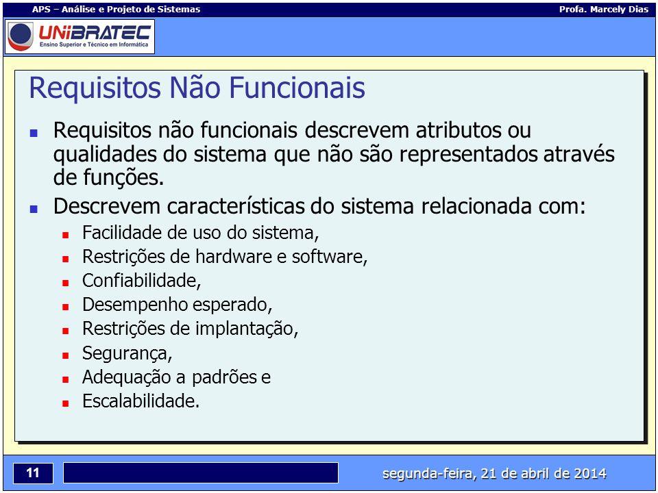 segunda-feira, 21 de abril de 2014 11 APS – Análise e Projeto de Sistemas Profa. Marcely Dias Requisitos Não Funcionais Requisitos não funcionais desc