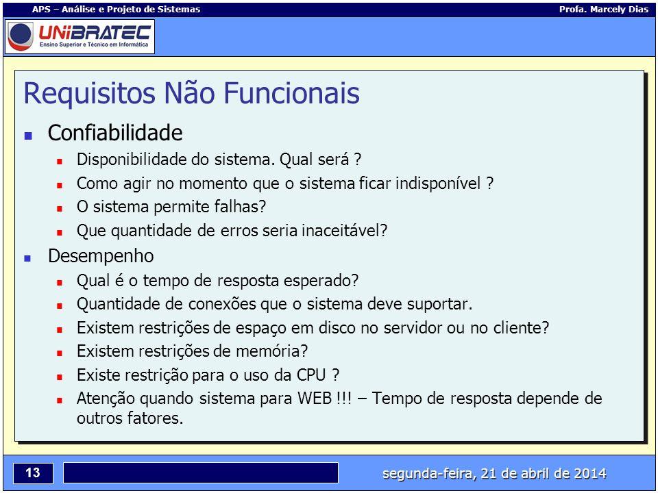 segunda-feira, 21 de abril de 2014 13 APS – Análise e Projeto de Sistemas Profa. Marcely Dias Requisitos Não Funcionais Confiabilidade Disponibilidade