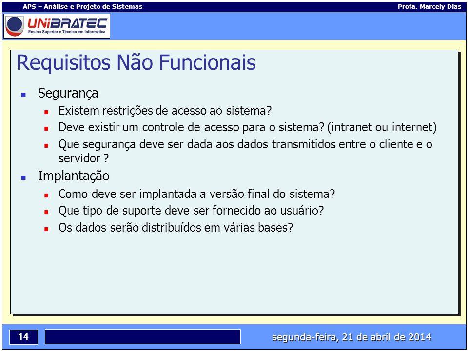 segunda-feira, 21 de abril de 2014 14 APS – Análise e Projeto de Sistemas Profa. Marcely Dias Requisitos Não Funcionais Segurança Existem restrições d