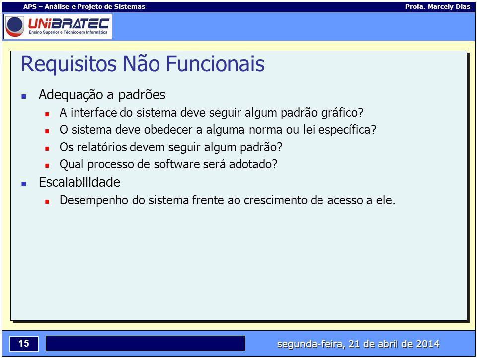 segunda-feira, 21 de abril de 2014 15 APS – Análise e Projeto de Sistemas Profa. Marcely Dias Requisitos Não Funcionais Adequação a padrões A interfac