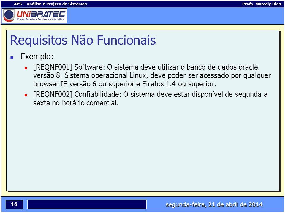 segunda-feira, 21 de abril de 2014 16 APS – Análise e Projeto de Sistemas Profa. Marcely Dias Requisitos Não Funcionais Exemplo: [REQNF001] Software: