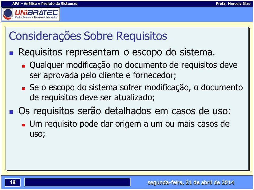 segunda-feira, 21 de abril de 2014 19 APS – Análise e Projeto de Sistemas Profa. Marcely Dias Considerações Sobre Requisitos Requisitos representam o