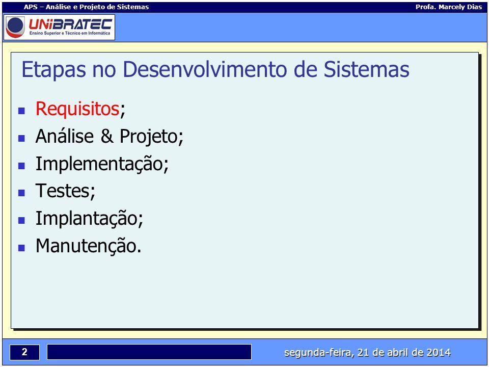 segunda-feira, 21 de abril de 2014 2 APS – Análise e Projeto de Sistemas Profa. Marcely Dias Etapas no Desenvolvimento de Sistemas Requisitos; Análise