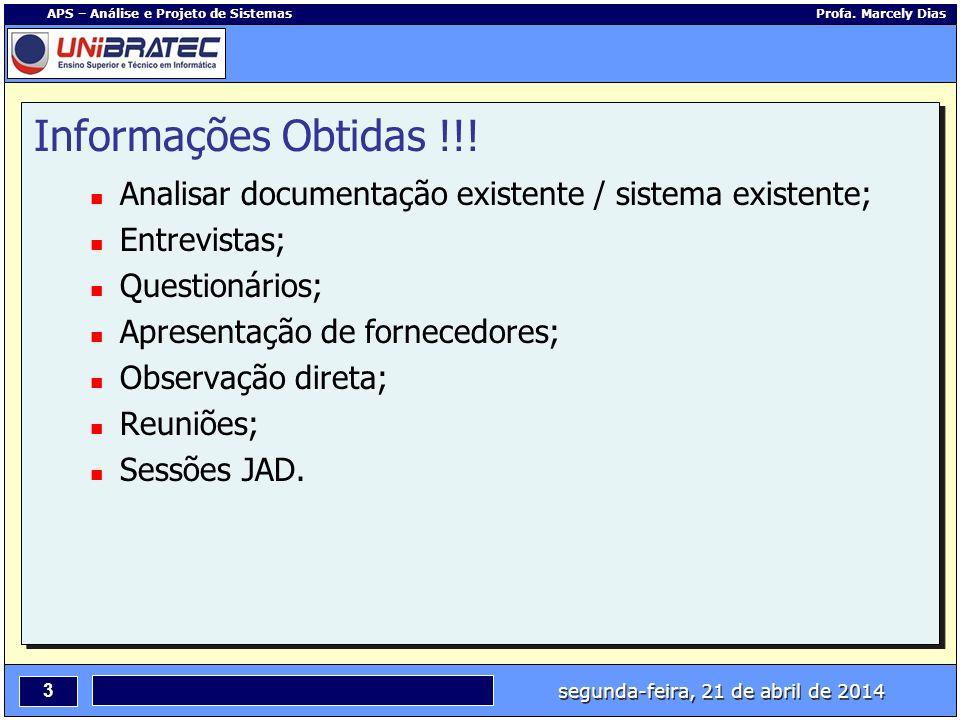segunda-feira, 21 de abril de 2014 3 APS – Análise e Projeto de Sistemas Profa. Marcely Dias Informações Obtidas !!! Analisar documentação existente /