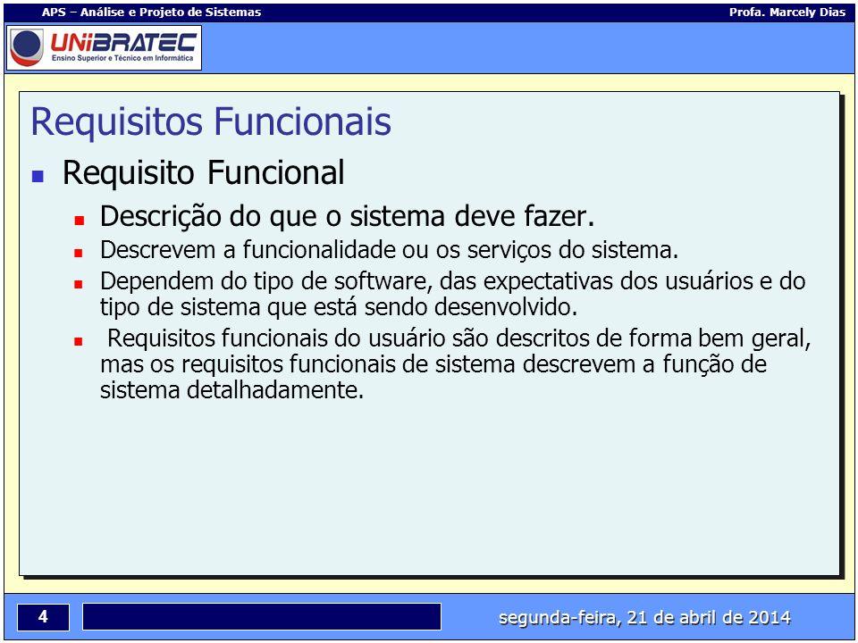 segunda-feira, 21 de abril de 2014 4 APS – Análise e Projeto de Sistemas Profa. Marcely Dias Requisitos Funcionais Requisito Funcional Descrição do qu