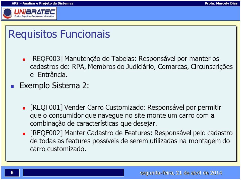 segunda-feira, 21 de abril de 2014 6 APS – Análise e Projeto de Sistemas Profa. Marcely Dias Requisitos Funcionais [REQF003] Manutenção de Tabelas: Re