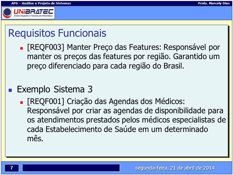 segunda-feira, 21 de abril de 2014 7 APS – Análise e Projeto de Sistemas Profa. Marcely Dias Requisitos Funcionais [REQF003] Manter Preço das Features