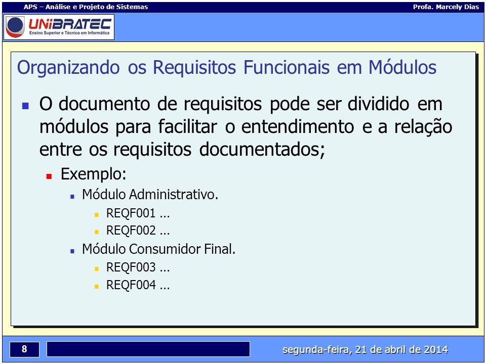 segunda-feira, 21 de abril de 2014 8 APS – Análise e Projeto de Sistemas Profa. Marcely Dias Organizando os Requisitos Funcionais em Módulos O documen