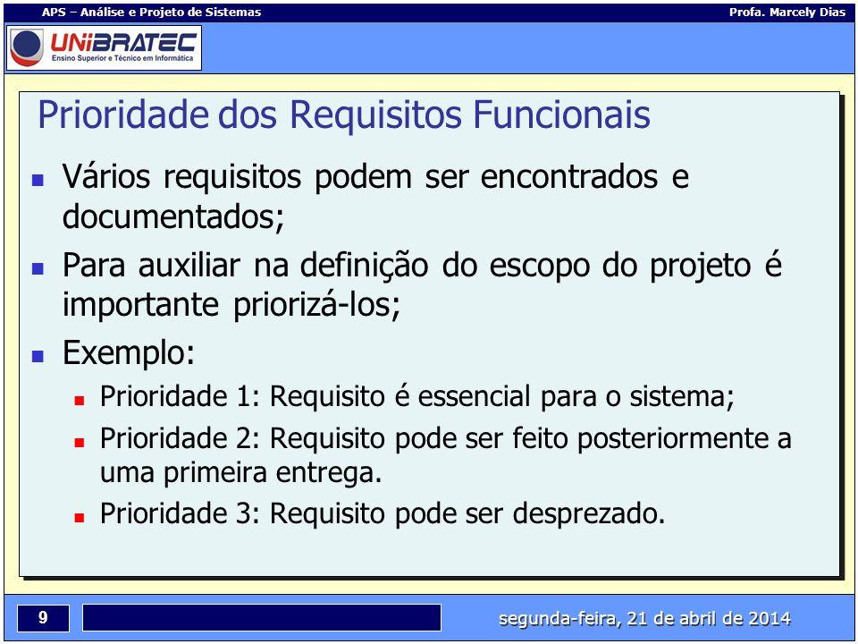 segunda-feira, 21 de abril de 2014 9 APS – Análise e Projeto de Sistemas Profa. Marcely Dias Prioridade dos Requisitos Funcionais Vários requisitos po