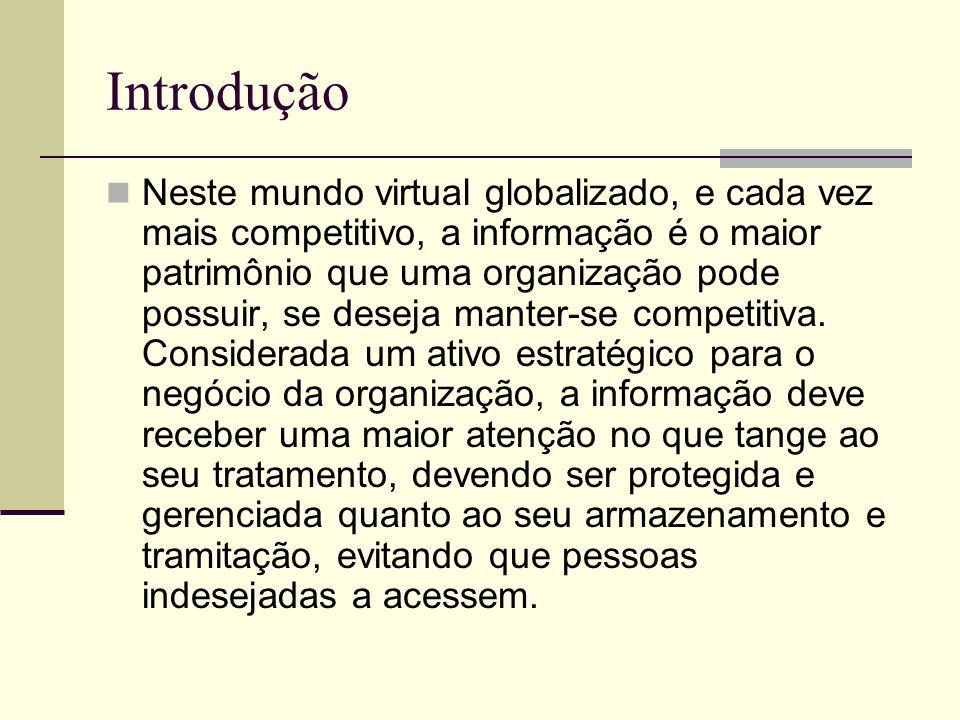 Introdução Neste mundo virtual globalizado, e cada vez mais competitivo, a informação é o maior patrimônio que uma organização pode possuir, se deseja manter-se competitiva.