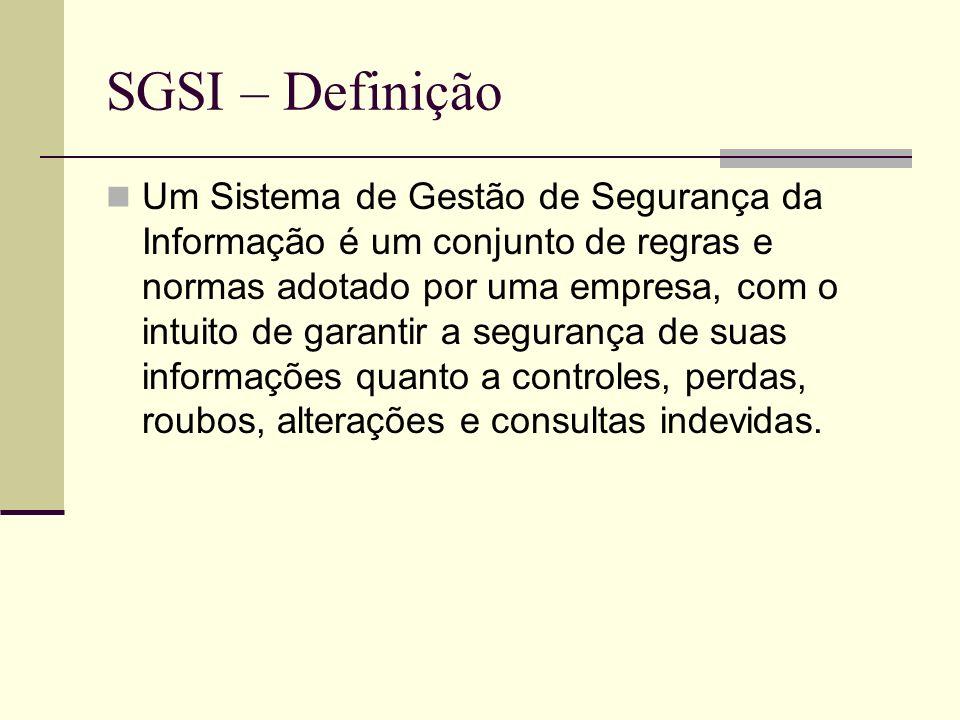 SGSI – Definição Um Sistema de Gestão de Segurança da Informação é um conjunto de regras e normas adotado por uma empresa, com o intuito de garantir a segurança de suas informações quanto a controles, perdas, roubos, alterações e consultas indevidas.
