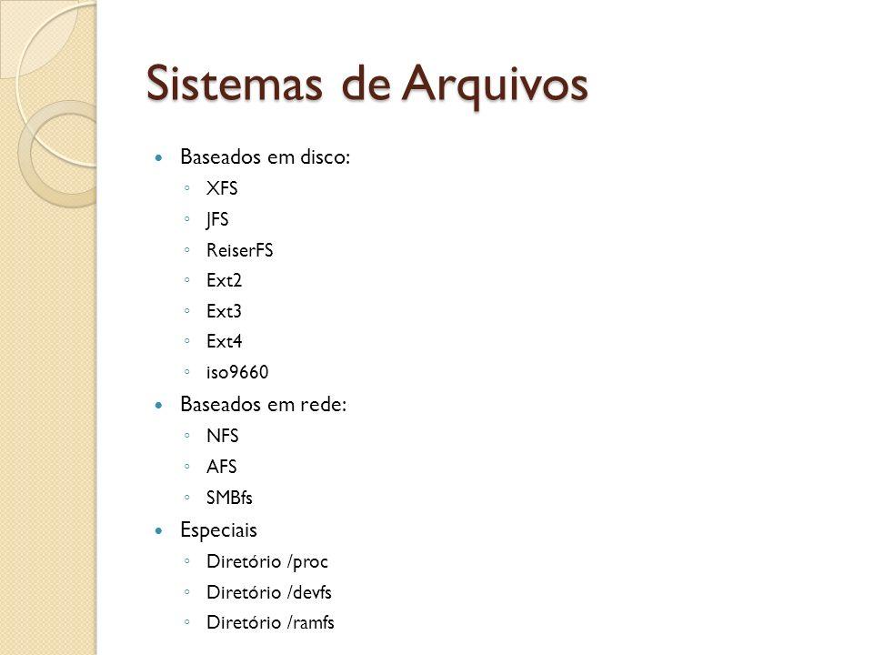 Sistemas de Arquivos Baseados em disco: XFS JFS ReiserFS Ext2 Ext3 Ext4 iso9660 Baseados em rede: NFS AFS SMBfs Especiais Diretório /proc Diretório /d
