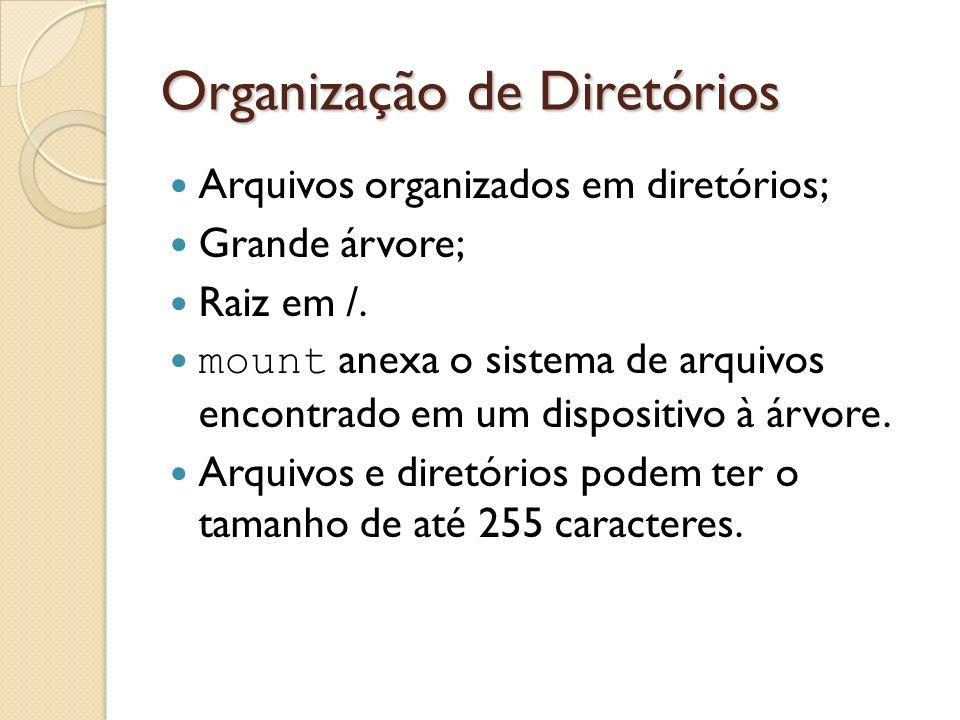 Organização de Diretórios Arquivos organizados em diretórios; Grande árvore; Raiz em /. mount anexa o sistema de arquivos encontrado em um dispositivo