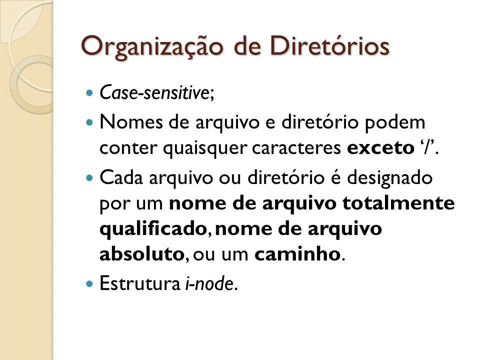 Organização de Diretórios Case-sensitive; Nomes de arquivo e diretório podem conter quaisquer caracteres exceto /. Cada arquivo ou diretório é designa