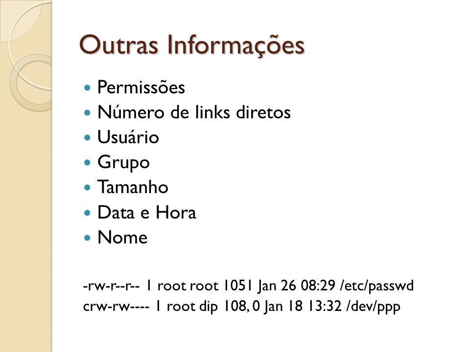 Outras Informações Permissões Número de links diretos Usuário Grupo Tamanho Data e Hora Nome -rw-r--r-- 1 root root 1051 Jan 26 08:29 /etc/passwd crw-