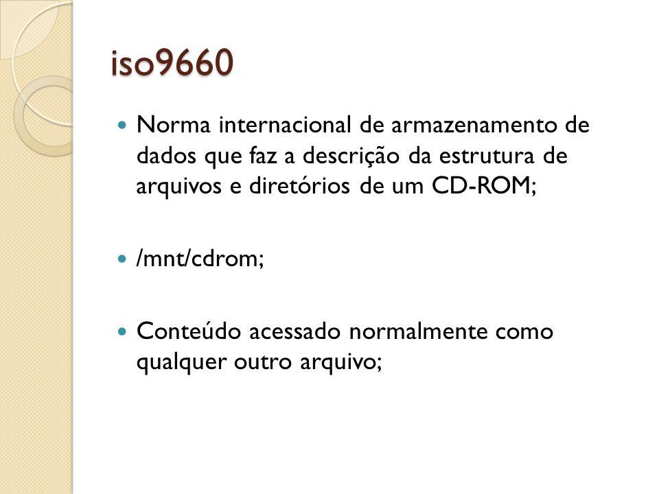 iso9660 Norma internacional de armazenamento de dados que faz a descrição da estrutura de arquivos e diretórios de um CD-ROM; /mnt/cdrom; Conteúdo ace