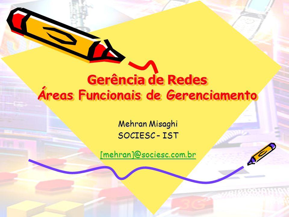 21/4/2014Gerência de Redes Áreas Funcionais 2 Áreas Funcionais de Gerenciamento Gerenciamento de Falhas; Gerenciamento de Desempenho; Gerenciamento de Contabilização; Gerenciamento de Configuração; Gerenciamento de Segurança
