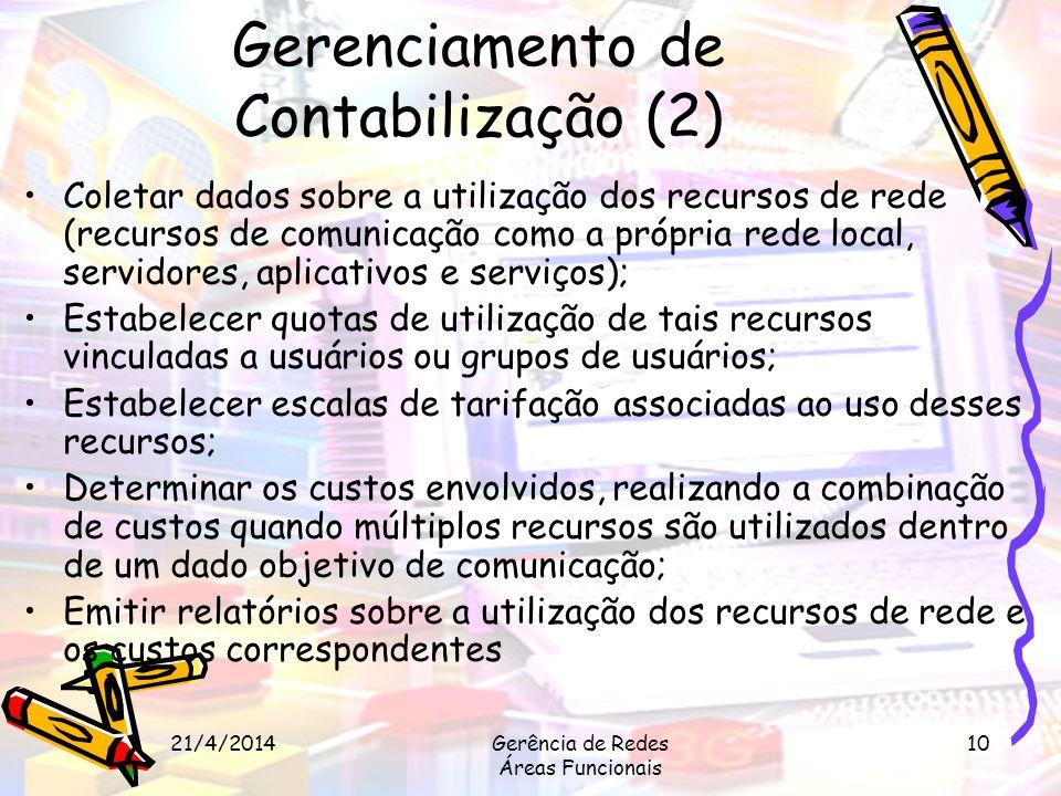 21/4/2014Gerência de Redes Áreas Funcionais 10 Gerenciamento de Contabilização (2) Coletar dados sobre a utilização dos recursos de rede (recursos de