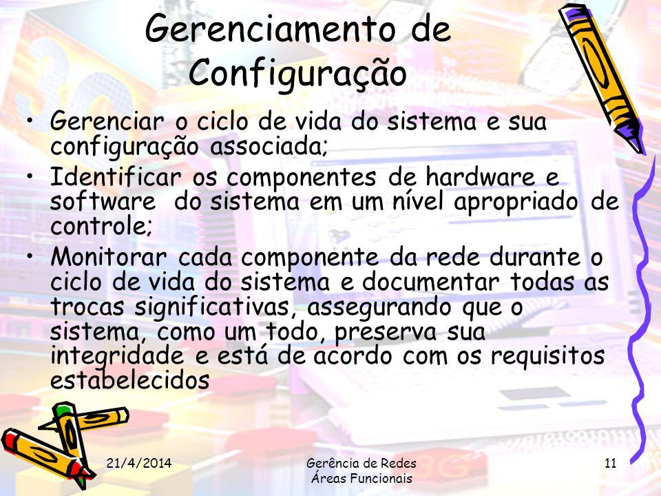 21/4/2014Gerência de Redes Áreas Funcionais 11 Gerenciamento de Configuração Gerenciar o ciclo de vida do sistema e sua configuração associada; Identi