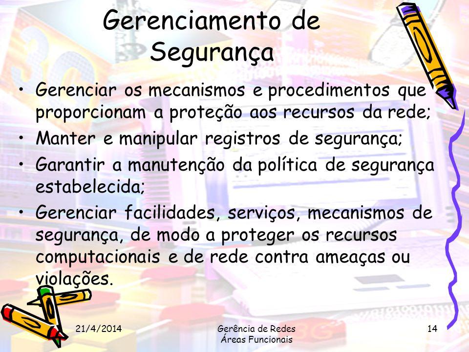 21/4/2014Gerência de Redes Áreas Funcionais 14 Gerenciamento de Segurança Gerenciar os mecanismos e procedimentos que proporcionam a proteção aos recu